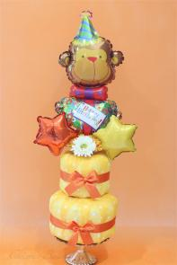 〜Cute Monkey Wrapping DX〜可愛いおサルのラッピング豪華版おむつケーキ